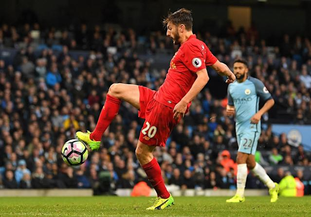 <p>Lallana has the freedom of the penalty area, but manages to scuff his shot wide from ten yards out </p>