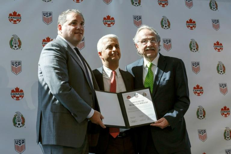 Sunil Gulati President of United States Soccer Federation (C) poses for a picture next to  Victor Montagliani CONCACAF President (L) and Decio de Maria President of the Mexican Football Federation (R) after announcing the next soccer 2026 World Cup