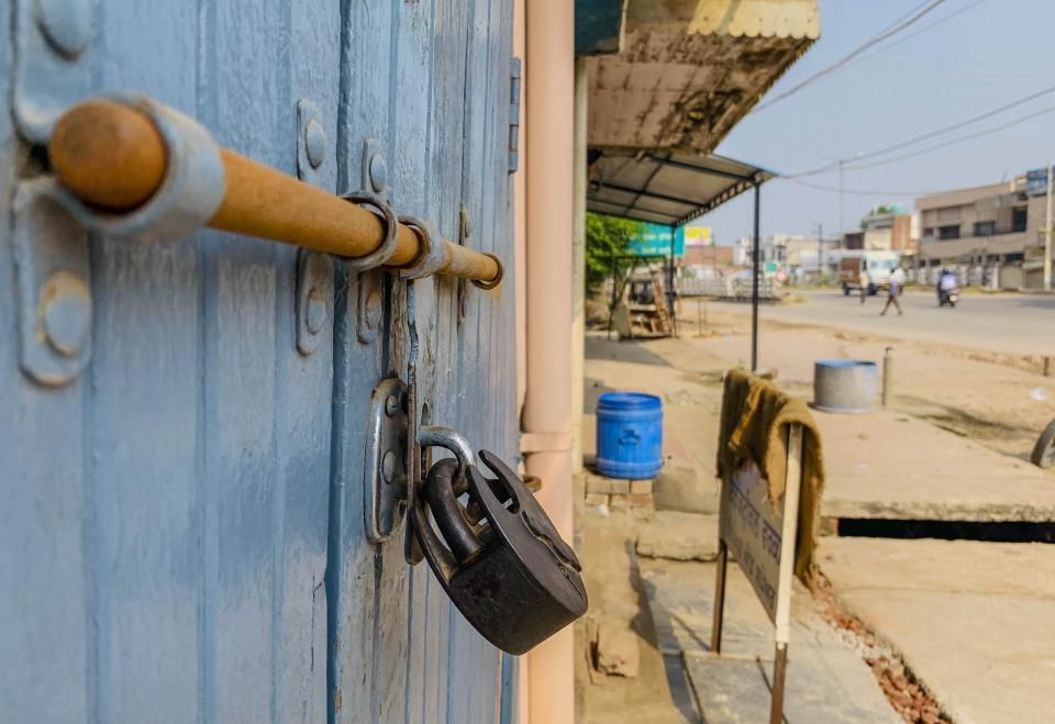 A shop is locked during Bharat Bandh, a protest against the farm bills passed in Parliament recently, in Kurali, Friday, Sept. 25, 2020. (PTI Photo)
