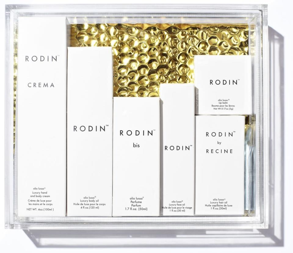 """<p>Olio lusso fans rejoice! The ultimate Rodin beauty kit comes packed up in a cool lucite box. <a href=""""http://oliolusso.com/products/lucite-set"""" rel=""""nofollow noopener"""" target=""""_blank"""" data-ylk=""""slk:Rodin Lucite Set"""" class=""""link rapid-noclick-resp"""">Rodin Lucite Set</a> ($500) </p>"""