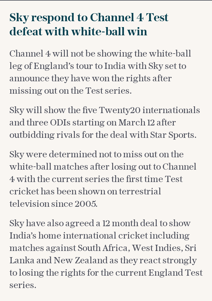 Sky respond to Channel 4 Test defeat with white-ball win