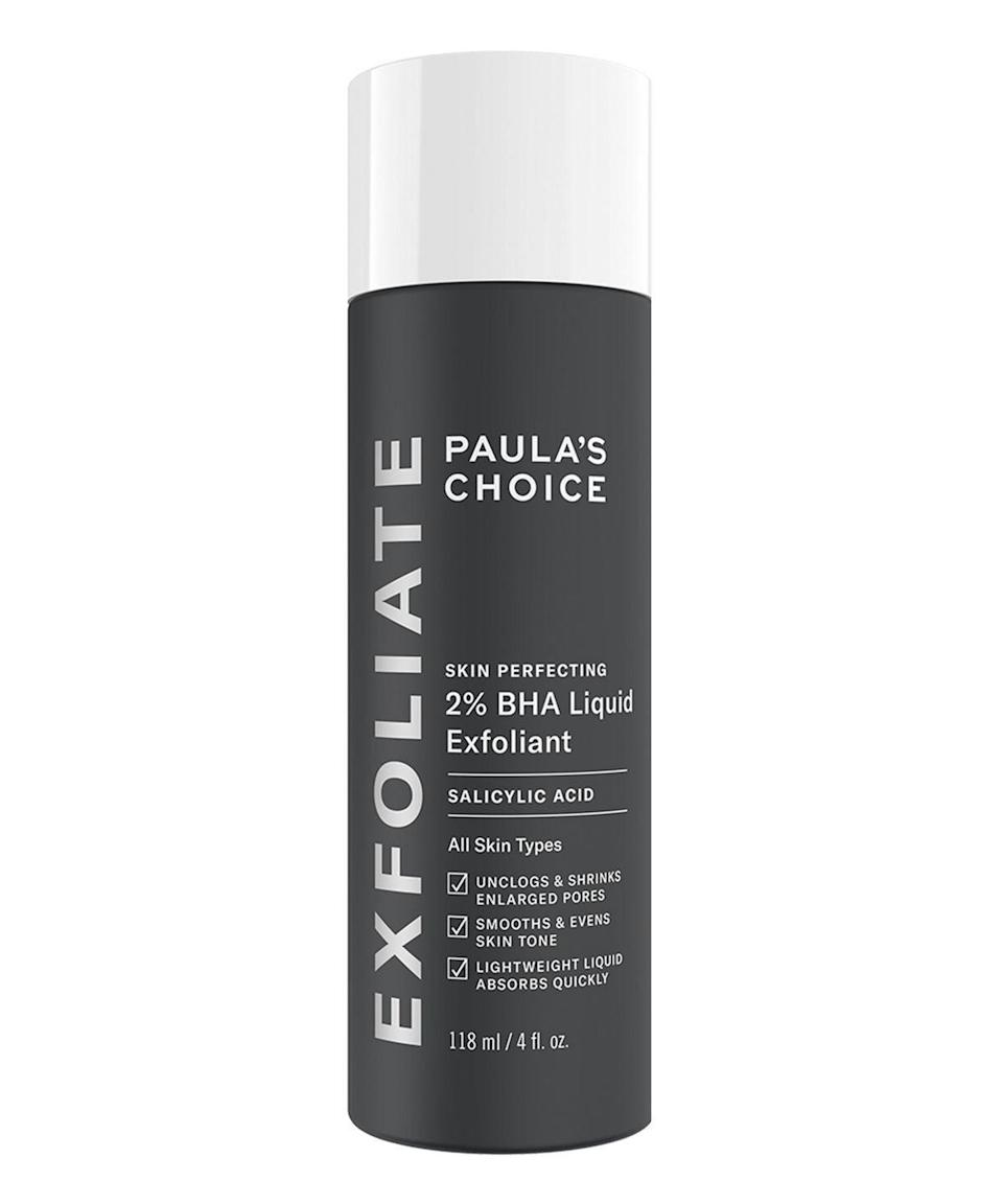 "If your skin tends to be on the drier side, choose this leave-on salicylic acid toner. The 2% BHA is accompanied by butylene glycol, a conditioning agent which makes skin soft and smooth. Lots of dermatologists have recently championed this product for combating the effects of <a href=""https://www.refinery29.com/en-gb/treat-acne-wearing-face-mask"" rel=""nofollow noopener"" target=""_blank"" data-ylk=""slk:maskne"" class=""link rapid-noclick-resp"">maskne</a>. <br><br><strong>Paula's Choice</strong> Skin Perfecting 2% BHA Liquid Exfoliant, $, available at <a href=""https://www.cultbeauty.co.uk/paulas-choice-skin-perfecting-2-bha-liquid-exfoliant.html"" rel=""nofollow noopener"" target=""_blank"" data-ylk=""slk:Cult Beauty"" class=""link rapid-noclick-resp"">Cult Beauty</a>"