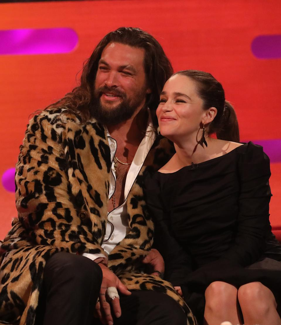 Jason Momoa and Emilia Clarke during the filming for the Graham Norton Show at BBC Studioworks 6 Television Centre, Wood Lane, London, to be aired on BBC One on Friday evening. (Photo by Isabel Infantes/PA Images via Getty Images)