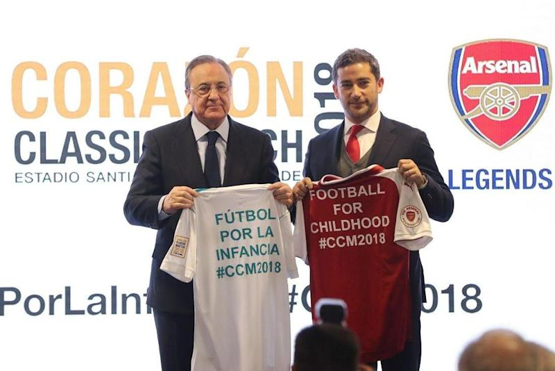 Real Madrid president Florentino Perez and Arsenal executive Peter Silverstone announced the games: EPA