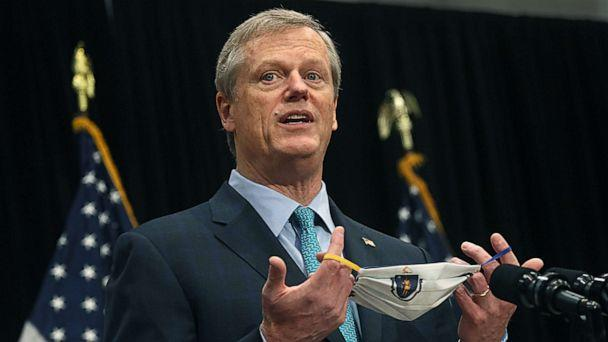 PHOTO: Massachusetts Governor Charlie Baker briefs the media on the COVID-19 pandemic at the Massachusetts State House in Boston, Oct. 27, 2020.  (Suzanne Kreiter/The Boston Globe via Getty Images)