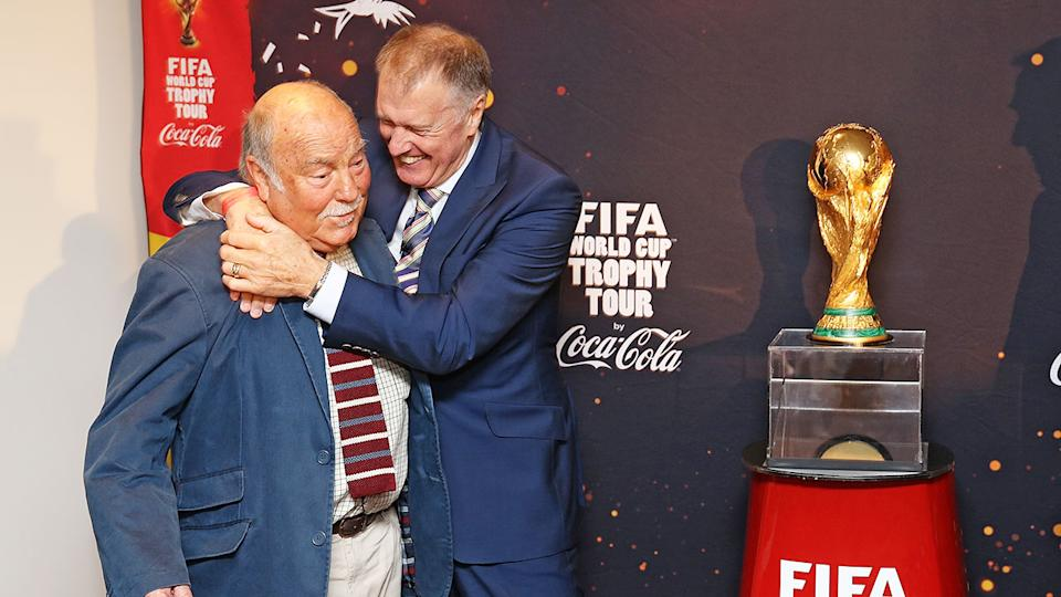 Pictured here, Jimmy Greaves with fellow England World Cup winner Geoff Hurst.