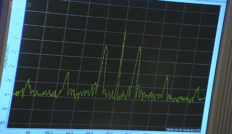 A screen shows a signal received from ExoMars Trace Gas Orbiter at 16:34 GMT after it emerged from behind Mars at the control room of the European Space Agency (ESA) in Darmstadt, Germany, October 19, 2016. ESA/Handout via REUTERS FOR EDITORIAL USE ONLY. NO RESALES. NO ARCHIVES