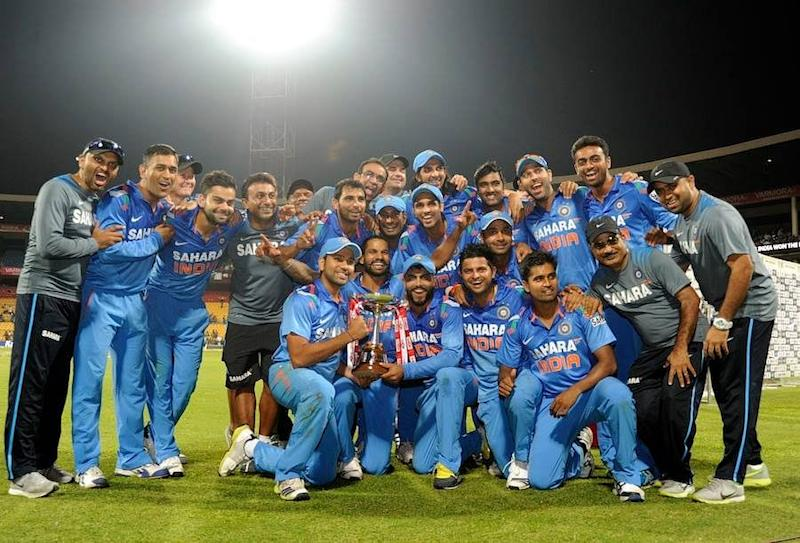 Indian team with the trophy