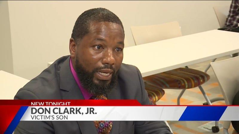Son of Black Army veteran Don Clark Sr. speaks to reporters about his father's death at the hands of St. Louis police.