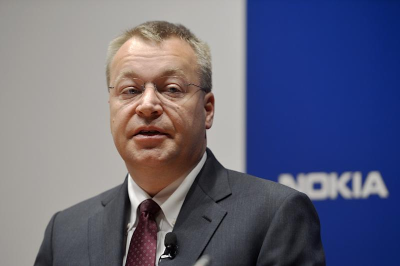 Nokia CEO Stephen Elop speaks during the company's press conference in Espoo, Finland, Thursday June 14, 2012. Nokia Corp. will lay off 10,000 jobs globally and close plants by the end of 2013, the company said Thursday June 14, 2012, in a further drive to save costs. The cuts mean that it will close some research and development projects, including in Ulm, Germany, and Burnaby, Canada. (AP Photo/Lehtikuva, Kimmo Mantyla) FINLAND OUT
