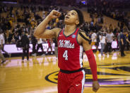 Mississippi's Breein Tyree celebrates as he walks off the court after defeating Missouri 73-68 in an NCAA college basketball game Saturday, March 9, 2019, in Columbia, Mo. (AP Photo/L.G. Patterson)