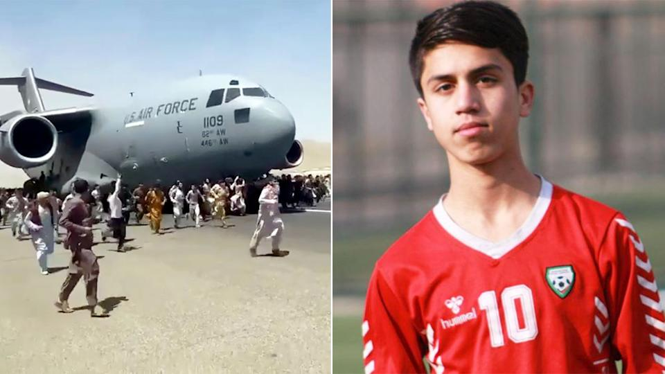 Pictured here, Afghan youth football star Zaki Anwari died falling from a US military plane.