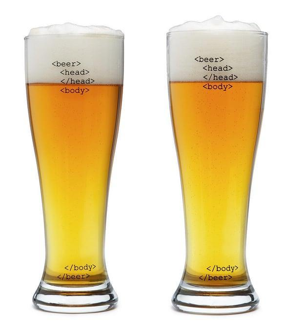 <p>These <span>HTML beer glasses </span> ($25 for set of 2) are perfect for any guy who's into coding.</p>