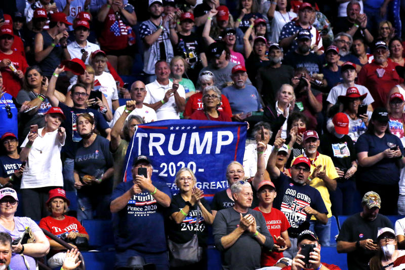Image: Supporters cheer before the start of a campaign rally for President Donald Trump in Tulsa, Okla., on June 20, 2020. (Sue Ogrocki / AP)