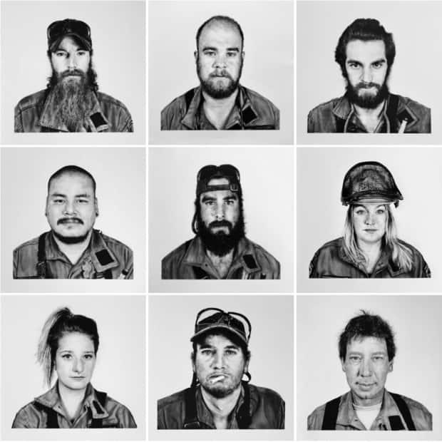The nine forest firefighters, featured in the Fire Line, are seen in a collage of the hand-drawn portraits by Red Lake, Ont., artist Jennifer Globush. (Submitted by Jennifer Globush - image credit)