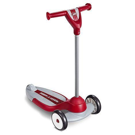 """<p><strong>Radio Flyer</strong></p><p>amazon.com</p><p><a href=""""https://www.amazon.com/dp/B01MY4UCUK?tag=syn-yahoo-20&ascsubtag=%5Bartid%7C10055.g.36902218%5Bsrc%7Cyahoo-us"""" rel=""""nofollow noopener"""" target=""""_blank"""" data-ylk=""""slk:Shop Now"""" class=""""link rapid-noclick-resp"""">Shop Now</a></p><p>This scooter can be used indoors or outdoors. A wide base, low deck, two front wheels and specially designed turning radius helps toddlers and preschoolers stay stable, and a textured deck keeps kids from slipping off. <em>Ages: 2 – 5</em></p>"""
