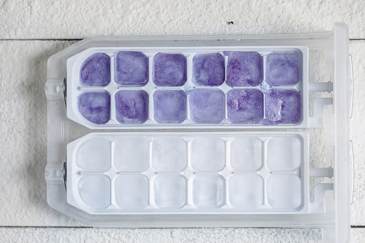 The blue pea flower ice cubes are a shade lighter than when in liquid form.