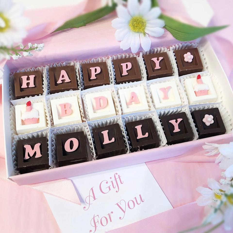 <p>You can never go wrong with a box of chocolates, but the <span>Personalized Box of Birthday Chocolates</span> ($38) takes it to a whole new level. It's such a cute way to get your bestie something they'll love to indulge in, with a personalized touch. </p>