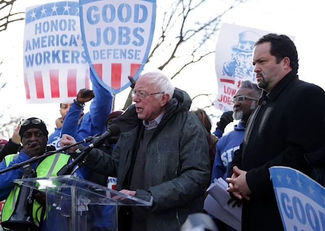 "Sen. Bernie Sanders with former NAACP president Ben Jealous during a rally ""to fight back against the Republican war on the working class,"" Feb. 16, 2017, in Washington, D.C. (Photo: Alex Wong/Getty Images)"