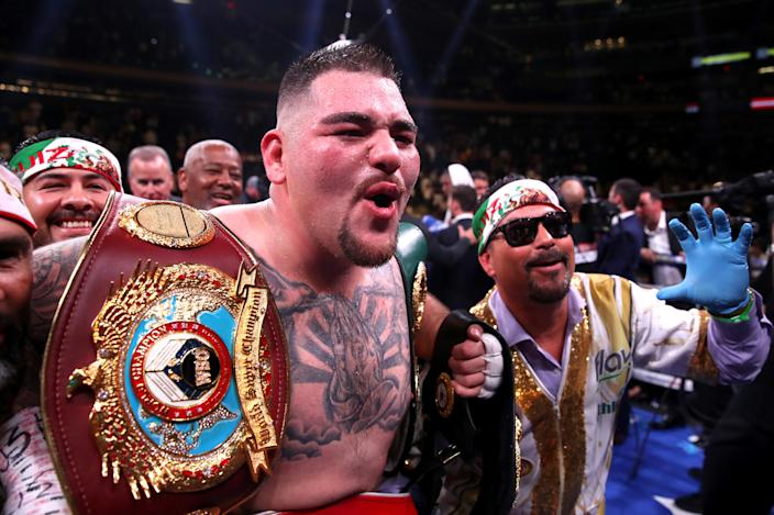 Andy Ruiz Jr (centre) celebrates the win in the WBA, IBF, WBO and IBO Heavyweight World Championships title fight against Anthony Joshua at Madison Square Garden, New York. (Photo by Nick Potts/PA Images via Getty Images)