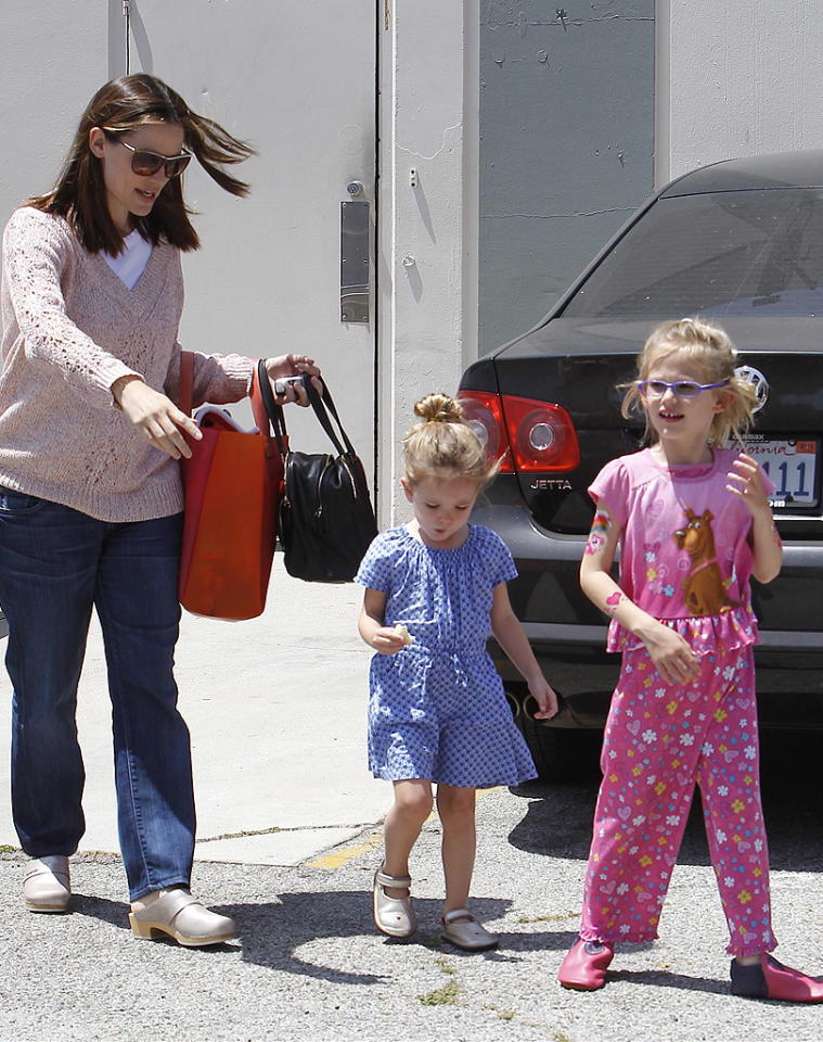 "Jennifer Garner picked up her ballerinas -- Seraphina, 3, and Violet, 6 -- following their dance class in Brentwood, California. The actress, who gave birth to son Samuel in February, was recently was awarded the Female Star of the Year award at CinemaCon and during her acceptance speech she joked, ""I told my mom the other day I was getting this award and I was excited and feeling proud and … there was this pause on the other end of the line. She said, 'Jennifer, do these people know you haven't worked in the last year?' ... I haven't stepped foot on a set."" (5/5/2012)"