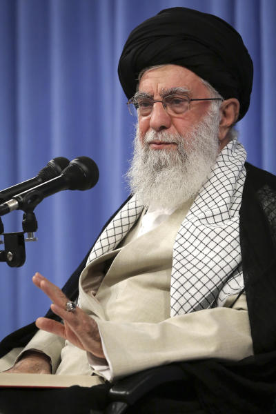 "In this photo released by an official website of the office of the Iranian supreme leader, Supreme Leader Ayatollah Ali Khamenei speaks in a meeting in Tehran, Iran, Tuesday, Sept. 17, 2019. Khamenei says ""there will be no talks with the U.S. at any level"" — remarks apparently meant to end all speculation about a U.S.-Iran meeting at the U.N. later this month. (Office of the Iranian Supreme Leader via AP)"