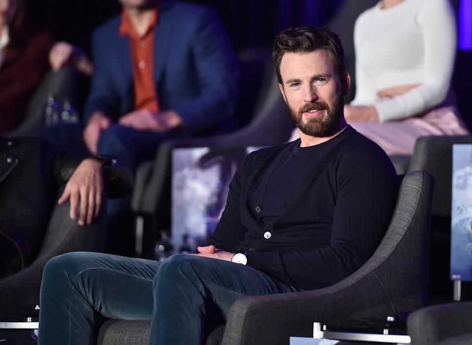 """LOS ANGELES, CA - APRIL 07: Chris Evans speaks onstage during Marvel Studios' """"Avengers: Endgame"""" Global Junket Press Conference at the InterContinental Los Angeles Downtown on April 7, 2019 in Los Angeles, California.  (Photo by Alberto E. Rodriguez/Getty Images for Disney)"""