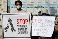 Activists protest against child labour and violence against children in Karachi in 2020