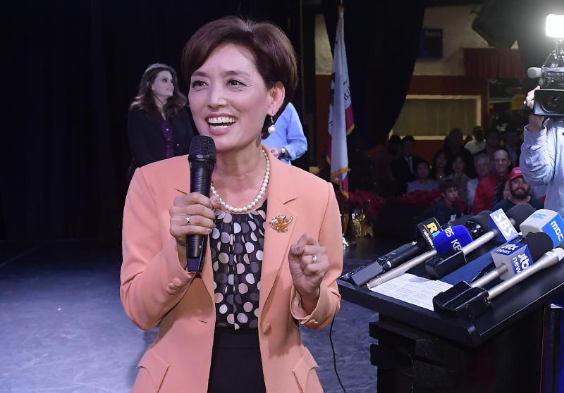 Young Kim, Republican candidate for the 39th Congressional District in California, speaks to supporters Tuesday, Nov. 6, 2018, in the Riowland Heights section of Los Angeles. (AP Photo/Mark J. Terrill)