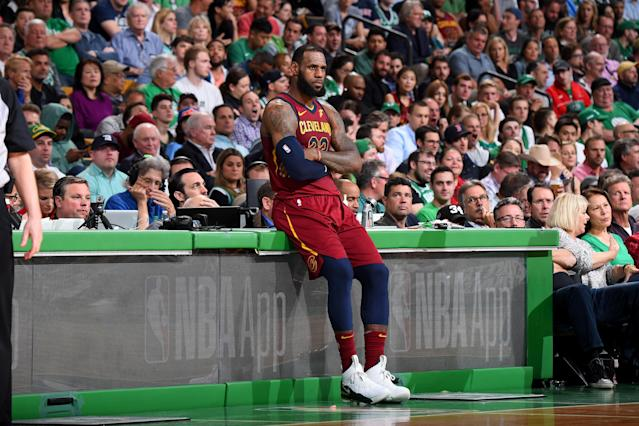 BOSTON, MA - MAY 15: LeBron James #23 of the Cleveland Cavaliers looks on in Game Two of the Eastern Conference Finals against the Boston Celtics during the 2018 NBA Playoffs on May 15, 2018 at the TD Garden in Boston, Massachusetts. (Photo by Brian Babineau/NBAE via Getty Images)