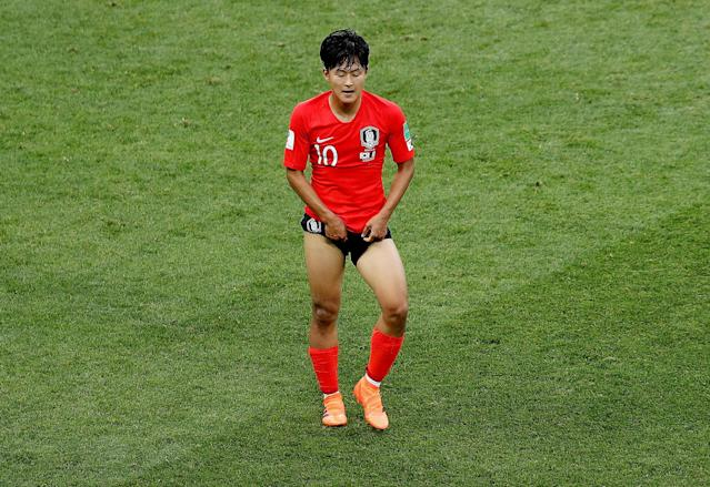 Soccer Football - World Cup - Group F - South Korea vs Mexico - Rostov Arena, Rostov-on-Don, Russia - June 23, 2018 South Korea's Lee Seung-woo looks dejected REUTERS/Darren Staples TPX IMAGES OF THE DAY
