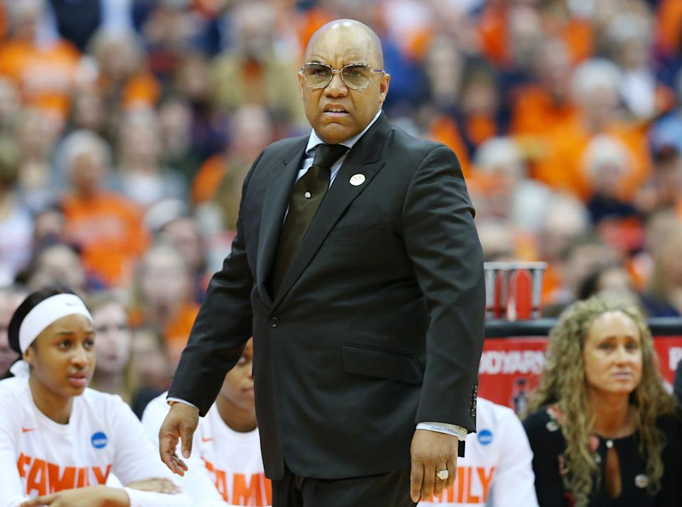 SYRACUSE, NY - MARCH 25: Head coach Quentin Hillsman of the Syracuse Orange reacts to a call against the South Dakota State Jackrabbits during the second half in the second round of the 2019 NCAA Women's Basketball Tournament at the Carrier Dome on March 25, 2019 in Syracuse, New York. South Dakota State defeated Syracuse 75-64. (Photo by Rich Barnes/Getty Images)