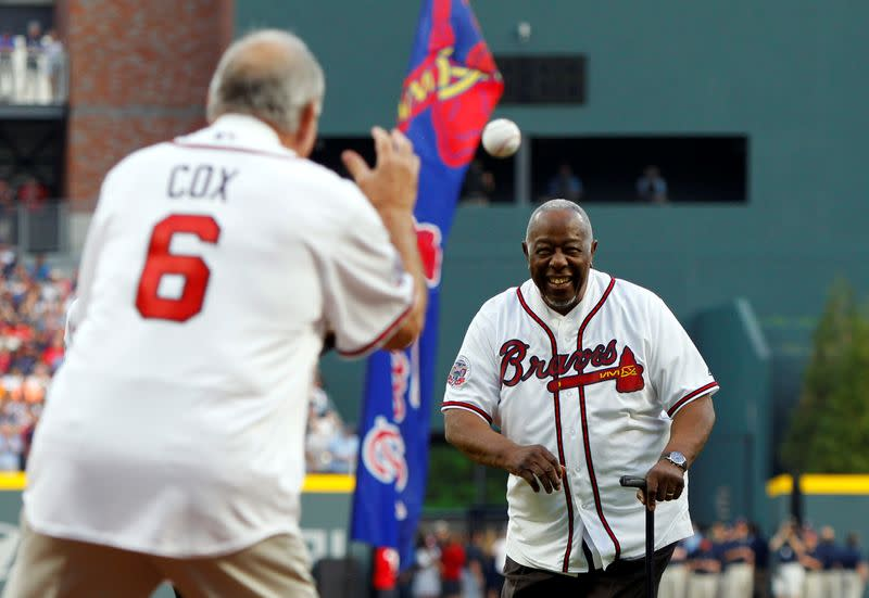 FILE PHOTO: Baseball great Hank Aaron pictured in 2017