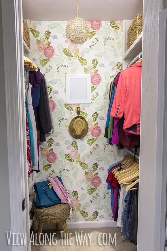 "<p>Just because your closet's small doesn't mean it can't be stylish. A fun wallpaper and whimsical light fixture can go a long way in brightening up a drab space to make getting dressed—and putting clothes away!—a more pleasant experience. </p><p>See more at <a href=""https://www.viewalongtheway.com/2014/03/girly-glam-closet-makeover-reveal/"" rel=""nofollow noopener"" target=""_blank"" data-ylk=""slk:View Along The Way"" class=""link rapid-noclick-resp"">View Along The Way</a>. </p>"