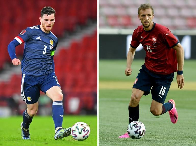 Scotland's Robertson (L) and the Czech Republic's Soucek will be key figures for their teams in Glasgow