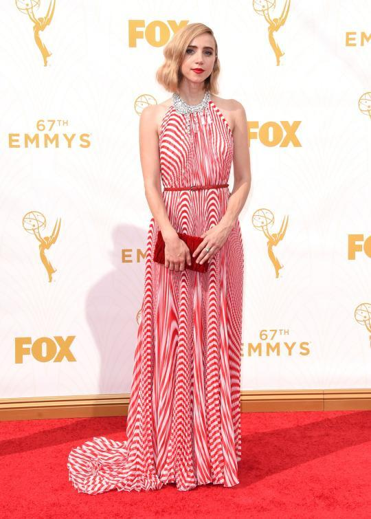 <p>Zoe Kazan appeared as a red and white striped peppermint sucking candy only in dress form. That's such a good thing, though. So cool!<br></p>