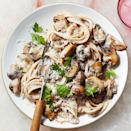 """<p>This easy pasta recipe is an excuse to buy wild mushrooms, available at many grocery stores these days. Or if you prefer white buttons, those will work well too. The creamy linguine is ready in 40 minutes, so it's quick enough for an easy weeknight recipe but it feels fancy enough for entertaining. <a href=""""http://www.eatingwell.com/recipe/275763/linguine-with-creamy-mushroom-sauce/"""" rel=""""nofollow noopener"""" target=""""_blank"""" data-ylk=""""slk:View recipe"""" class=""""link rapid-noclick-resp""""> View recipe </a></p>"""