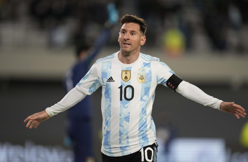 Argentina's Lionel Messi celebrates scoring his team´s third goal against Bolivia during a qualifying soccer match for the FIFA World Cup Qatar 2022, in Buenos Aires, Argentina, Thursday, Sept. 9, 2021. (AP Photo/Natacha Pisarenko, Pool)