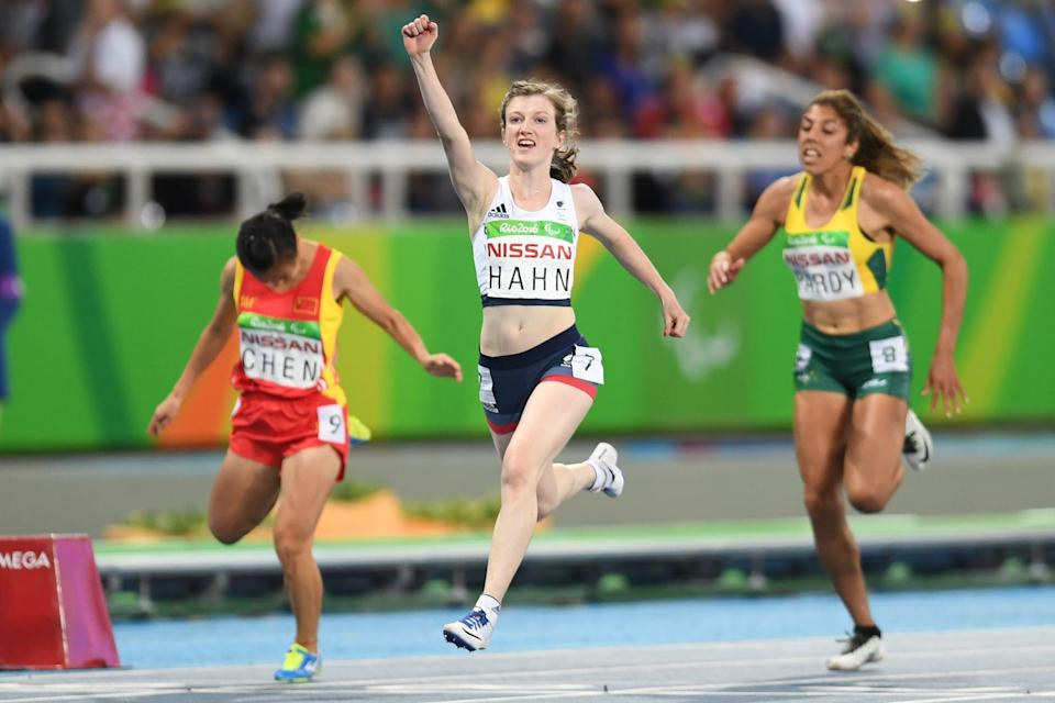 RIO DE JANEIRO, BRAZIL - SEPTEMBER 09:  Sophie Hahn of Great Britain celebrates after winning the women's 100 meter T38 on day 2 of the Rio 2016 Paralympic Games at Olympic Stadium on September 9, 2016 in Rio de Janeiro, Brazil.  (Photo by Atsushi Tomura/Getty Images for Tokyo 2020)