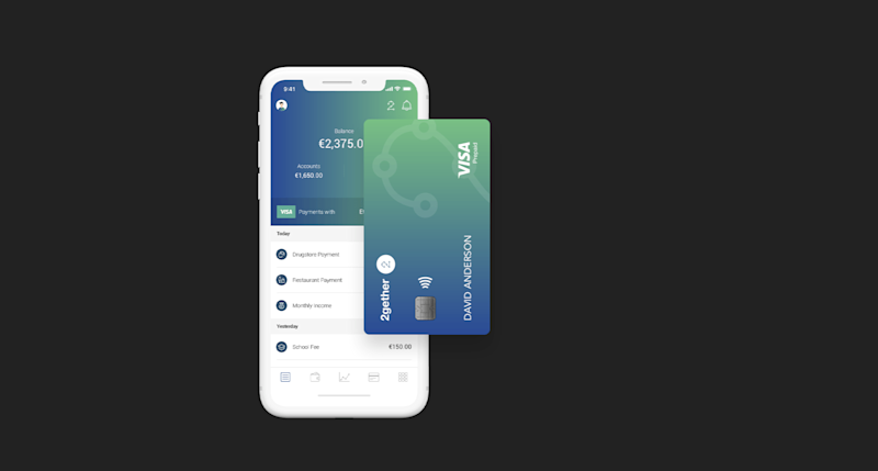 The banking platform's visa card enables users to withdraw their crypto holdings in cash from Visa ATM machines worldwide. | Source: 2gether