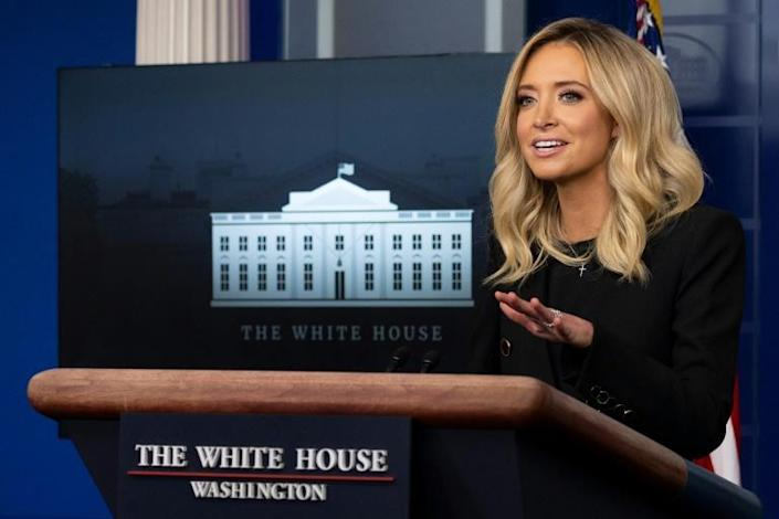 White House Press Secretary Kayleigh McEnany holds her first press conference on May 1, 2020, in the Brady Briefing Room of the White House (AFP Photo/JIM WATSON)