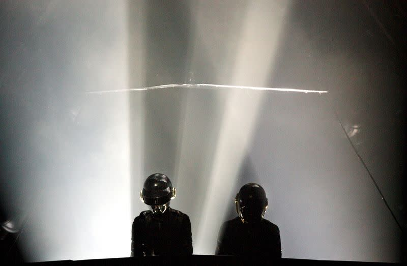 FILE PHOTO: France's electronic music artists Daft Punk perform at the Santiago Urbano Electronico Festival