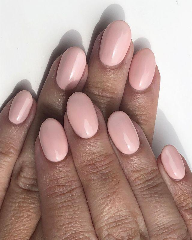 """<p>For nails that look good enough to eat, choose a nude based pink that's a few shades lighter than your skin tone.</p><p><a href=""""https://www.instagram.com/p/ByVPV6bFNYt/"""" rel=""""nofollow noopener"""" target=""""_blank"""" data-ylk=""""slk:See the original post on Instagram"""" class=""""link rapid-noclick-resp"""">See the original post on Instagram</a></p>"""