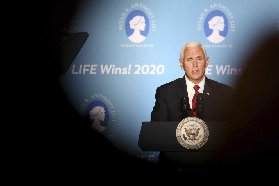 Vice President Mike Pence speaks at Starkey Road Baptist Church in Largo, Fla. on Wednesday Aug. 5, 2020, as part of his 'Faith in America' tour. His visit comes just days after President Donald Trump came to Tampa Bay on Friday for a campaign fundraiser. Pence's speech heralded the Trump Administration's successes and commitment to pro-life issues. (Douglas R. Clifford/Tampa Bay Times via AP)