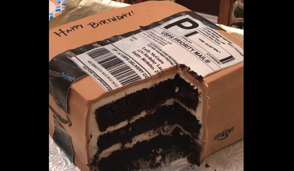 """A birthday cake in the shape of an Amazon delivery box has gone viral, and is resonating with anyone who suffers from an """"Add to Cart"""" addiction. (Photo: Emily McGuire Photography)"""