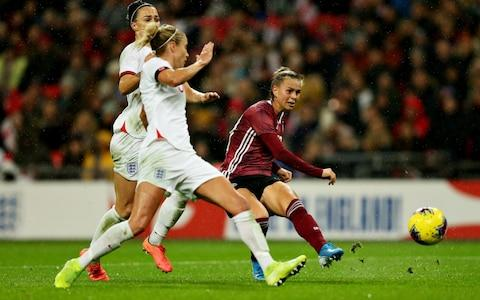 Klara Buhl scores the winner for Germany - Credit: Getty Images