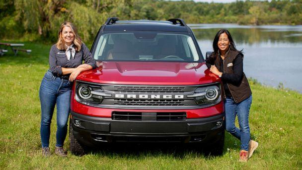 PHOTO: Ford employees Erica Martin, left, and Jovina Young, right, are taking the all-new Bronco Sport 4X4 to the Rebelle Rally. (Ford)