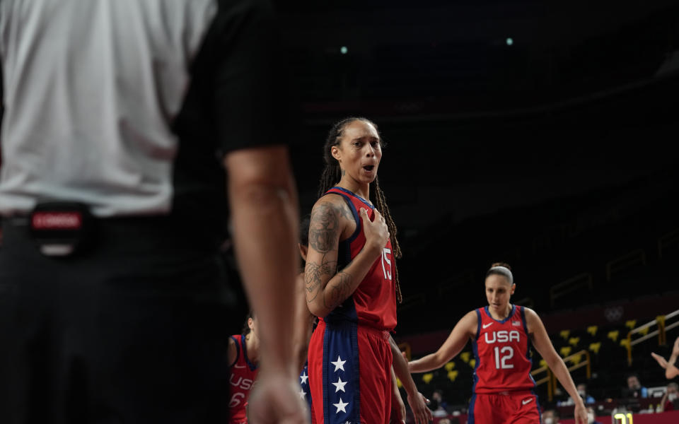 United States' Brittney Griner (15) questions a call during women's basketball preliminary round game against Nigeria at the 2020 Summer Olympics, Tuesday, July 27, 2021, in Saitama, Japan. (AP Photo/Eric Gay)