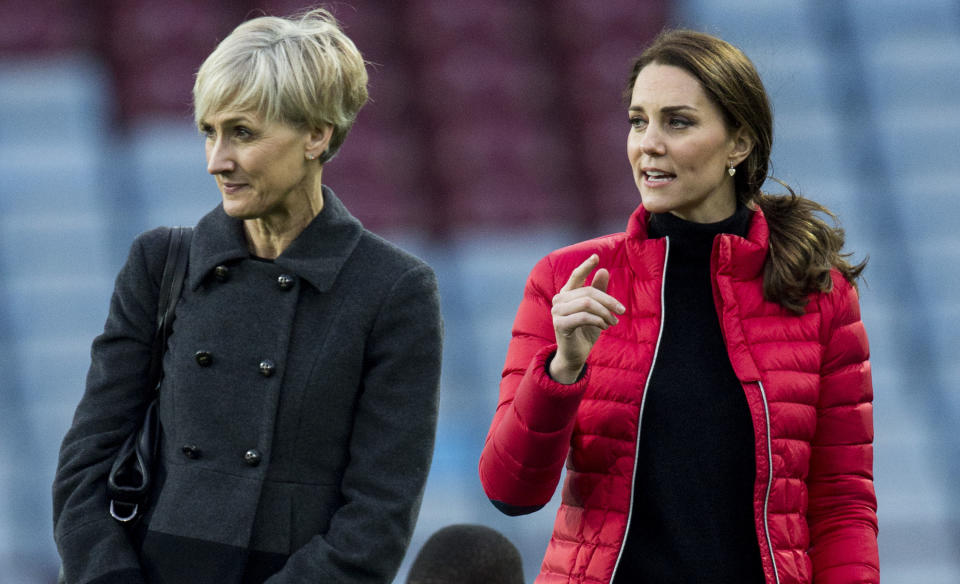 BIRMINGHAM, ENGLAND - NOVEMBER 22:  Catherine, Duchess of Cambridge with her Private Secretary Catherine Quinn during a visit to Aston Villa Football Club to see the work of the Coach Core programme on November 22, 2017 in Birmingham, England.  (Photo by Mark Cuthbert/UK Press via Getty Images)