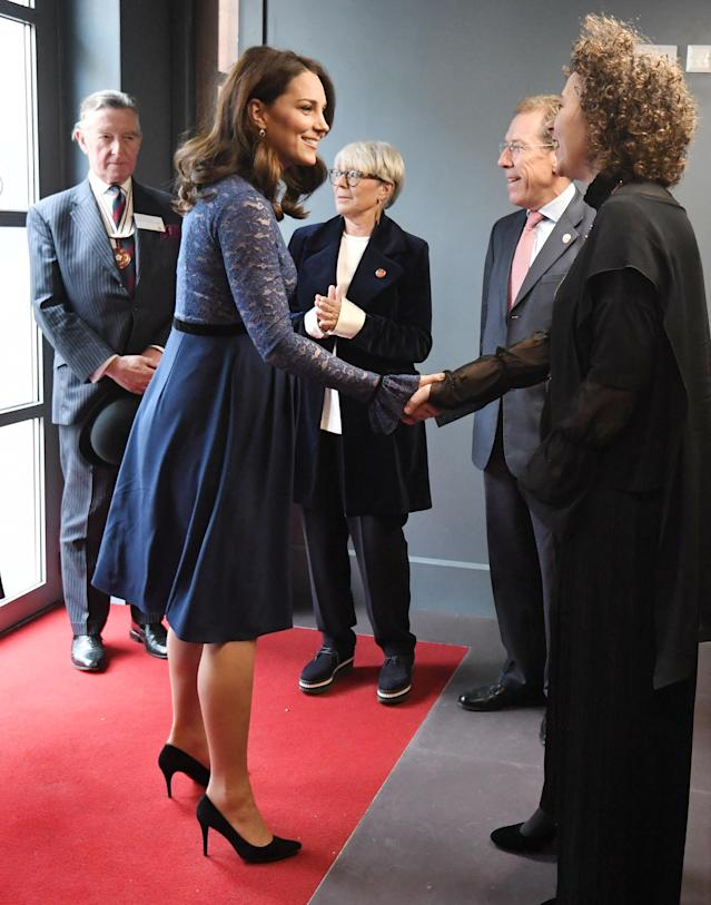 The royal cut a stylish figure at the Place2Be headquarters opening on March 7. (Photo: Victoria Jones/WPA Pool/Getty Images)